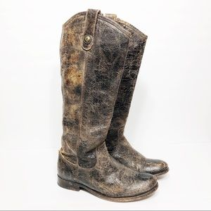 Frye Melissa Button Boot distressed